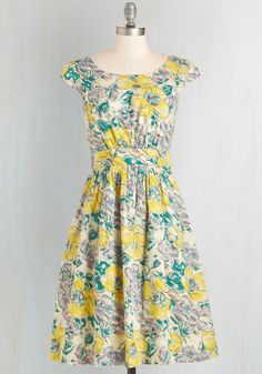 Day After Day Dress in Sketched Garden. You can trust that this pocketed dress by hard-to-find British brand Emily and Fin will lift your spirits when you need it! #yellow #modcloth