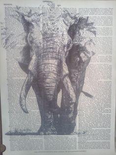 #elephant #illustration #old #dictionary #art