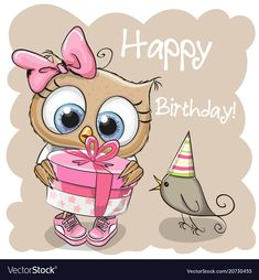 Cute Owl with gift on a beige background. Greeting card cute Owl with gift and a bird on a beige background Stock Image Happy Birthday Celebration, Happy Birthday Sister, Happy Birthday Cards, Birthday Greetings, Birthday Wishes, Copic Drawings, Owl Cartoon, Owl Pictures, Beige Background