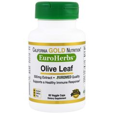 California Gold Nutrition, EuroHerbs, Olive Leaf XT, 500 mg, 60 Veggie Caps