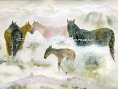 Watercolor Painting 13x19 Horse Art Print, Horse Painting, Horse Watercolor, Wild Horses, Print Of Original Watercolor Titled Snow Mustangs