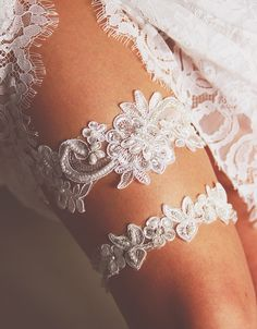 Bridal Garter Wedding Garter Set - Keepsake Garter Toss Garter Included - Ivory Garter Beaded Flower Lace Garter Garters - Vintage Inspired