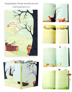 Forest Animals Journal by Susie Ghahremani, published by Chronicle Books. Illustrations of foxes, squirrels, bunnies, and more illustrate each page of this whimsical lined journal. Comes with sticker tabs! Available at shop.boygirlparty.com #forest #animal #journal #fox