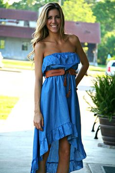 Denim Hi-Lo Dress with Belt