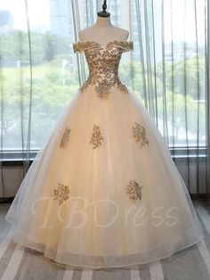 Tbdress.com offers high quality Off-the-Shoulder Appliques Beading Short Sleeves Quinceanera Dress Ball Gowns unit price of $ 174.99.