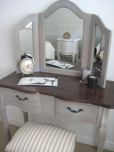 French Vintage DRESSING TABLE with TRIPLE MIRROR country chic New | eBay