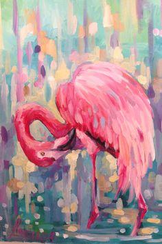 Flamant rose art de mur flamingo estampes par LenaNavarroArt