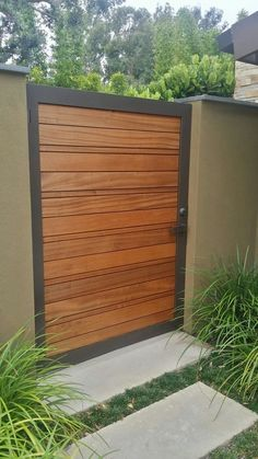 Have a look at this magnificent garage doors modern - what a creative design Wooden Garden Gate, Metal Garden Gates, Wooden Gates, Garden Doors, Fence Gate Design, Front Gate Design, House Gate Design, Gate Designs Modern, Modern Fence Design