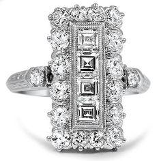 Vintage Platinum Engagement Ring w European Diamonds #platinumvintagerings #DustyJunk.com