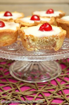 Cherry Bakewell Tarts by ginger, lemon and spice Cherry Bakewell Cake, Bakewell Tart, Tart Recipes, Baking Recipes, Cherry Recipes, Baking Tips, Dessert Recipes, British Baking, Just Cakes