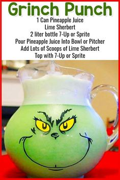 Grinch Punch For Christmas Party Punch - Tipsy Grinch Punch Too Easy Punch Recipes for a Crowd and Easy Party Drinks Ideas too! Lots of insanely good and super simple party punch recipes on this page! There are both non-alcoholic punch … Christmas Punch, Grinch Christmas, Christmas Snacks, Christmas Recipes, Holiday Punch, Xmas, Christmas Outfits, Simple Christmas, Winter Christmas