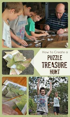 How to Create a Puzzle Treasure Hunt for Kids Learn how to put together a puzzle treasure hunt that will send your family on a search for clues through the house or around the neighborhood. Treasure Hunt Birthday, Treasure Hunt For Kids, Treasure Hunt Games, Treasure Maps, Treasure Hunting, Puzzle Party, Scavenger Hunt For Kids, Scavenger Hunts, Book Week