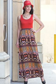 *** New Style ***Solid / print maxi dress, 96% Poly, 4% Span, Made in USA