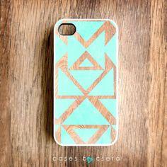 iPhone 5 Case - iPhone 4S Case, Plastic Wood Effect iPhone 4 Case, Mint Tribal iPhone 4 Case, iPhone 5 Cover ($24.99)