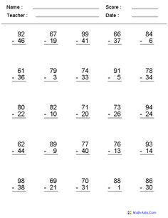 Zero to 99 Subtraction Worksheets