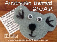 Australian Koala SWAP craft. Posted at: brownieguideleader.blogspot.com.au