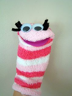 Great idea - make a sock worm puppet to celebrate Diary of a Worm, a Spider and a Fly
