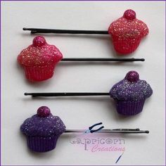 Jewel Enamel & Glitter Cupcake with Cherry Hairgrips - The Supermums Craft Fair