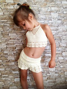 5b7cab9d111019 Crochet toddler set top and shorts Beach clothing kids Ivory crochet crop  top lace shorts Toddler outfit Open back halter top Crochet shorts