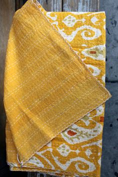 Tavin Boutique - Yellow Kantha quilt from india