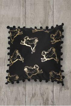 Multi Gold Pugs Pom Pom Cushion Cover ∗ Random Vintage