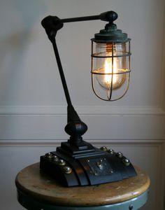 (via Vtg Antique Industrial Steampunk Desk Lamp Upcycled Machine Age Light   eBay)