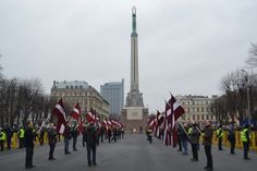 Latvian flags at the Monument of Freedom in Riga.