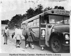 Students bused from Hartford to Suffield, 1968 Old School Bus, School Buses, School Bus Driver, School Days, Birmingham England, London England, Connecticut History, Retro Bus, Dodge Super Bee