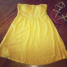NWOTCute Strapless Dress Strapless mustard yellow dressBrand New Never Worn Size Medium Poetry Dresses Mini