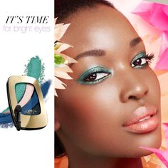 STUNNING-- a blue-green eye, subtle blush and a neutral lip.