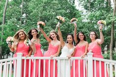 Saphire Estate | Sharon, Massachusetts  •• Bride and Bridesmaid | Bridal Party | Coral Theme Color Dresses Bouquets | Outdoor Ceremony | New England Summer Wedding Photo | Lovely Valentine Photography