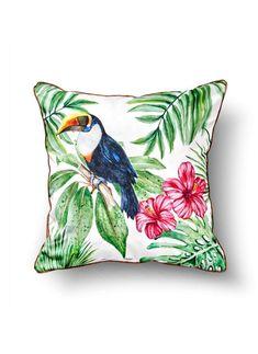 Perna Decorative Toucan Alb 50x50 cm Throw Pillows, Home, Decor, Legs, Fairy Houses, Toss Pillows, Decoration, Decorative Pillows, Decor Pillows