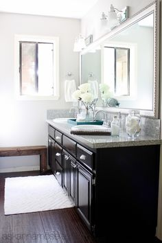 Guest Bathroom Makeover ~ From Pink to Fab. Love the color scheme
