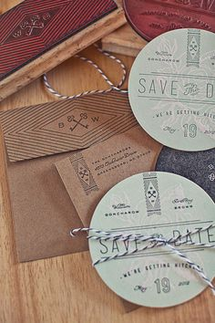 Wedding invitation coasters designed by Ross Clodfelter, mixing letterpress & stamping