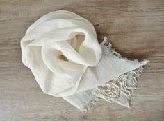 Linen summer scarf Flax scarf Gift idea natural by FineSkills