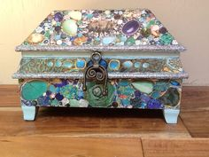 Collaged Jeweled Jewelry Box by Marisa1111 on Etsy, $48.00. This is adorable! Go look at the rest of her art on her etsy site by clicking here!!