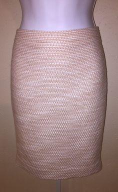 J Crew Factory NWT Tweed Pencil Skirt Size 6 Peach Ivory Metallic Retails $85   | eBay
