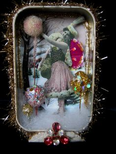Winter Fairy Altered Altoid Tin Shadowbox Collage Art