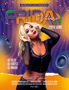 Download the Free Friday Vibes Party Flyer PSD Template! - Free Club Flyer, Free Flyer Templates, Free Party Flyer - #FreeClubFlyer, #FreeFlyerTemplates, #FreePartyFlyer - #Club, #Dance, #DJ, #EDM, #Electro, #Event, #Nightclub, #Party