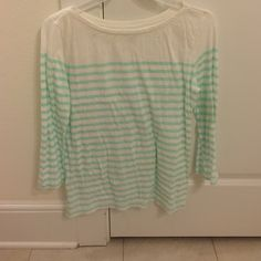 Mint green stripes shirt! Worn once! Green stripes have white polka dots in them! LOFT Tops