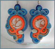 Blueorange asymmetric soutache earrings by BottyanGyongye on Etsy