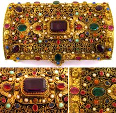 Antique Austrian Jeweled Encrusted Gilt Ormolu Jewelry Box / Casket