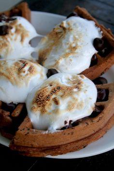 Smores Chocolate Waffles