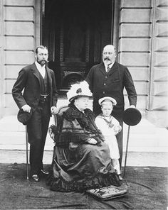 This photograph, taken at Osborne House in 1899 two years after her Diamond Jubilee, shows Queen Victoria with the three generations of her family who would succeed her as Sovereign.The Prince of Wales, who is standing to the left of his mother, would become King Edward VII following her death in January 1901. His son, the Duke of York acceded, to the throne as King George V in 1910, and the young Prince Edward, shown here aged 5 years old, would become King Edward VIII in 1936.