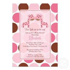 Twin Girls Blonde Stork Baby Shower Invitations Stork baby