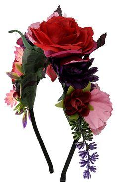 - Haarreifen- Kunstblumen- Lila- und Rotfarben- BlumenrankeDurchmesser: dehnbarBreite: max. 7 cm