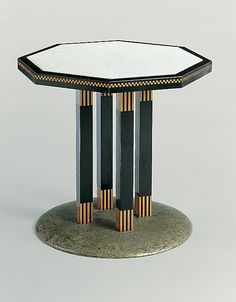 Center Table / Josef Hoffmann,  Manufacturer: Wiener Werkstätte / 1903  / Wood, ebonized wood, marble, nickel-plated brass