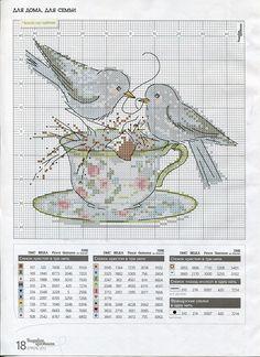 0 point de croix grille et couleurs de fils oiseaux faisant leur nid dans tasse de thé