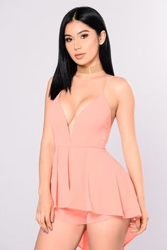 Waiting On A Feeling Romper - Coral