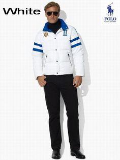 Ralph Lauren Men RL Snow Polo Challenge Cup Jacket USA White